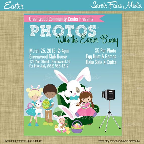 Pictures With Easter Bunny  Photos Easter Bunny Flyer Poster