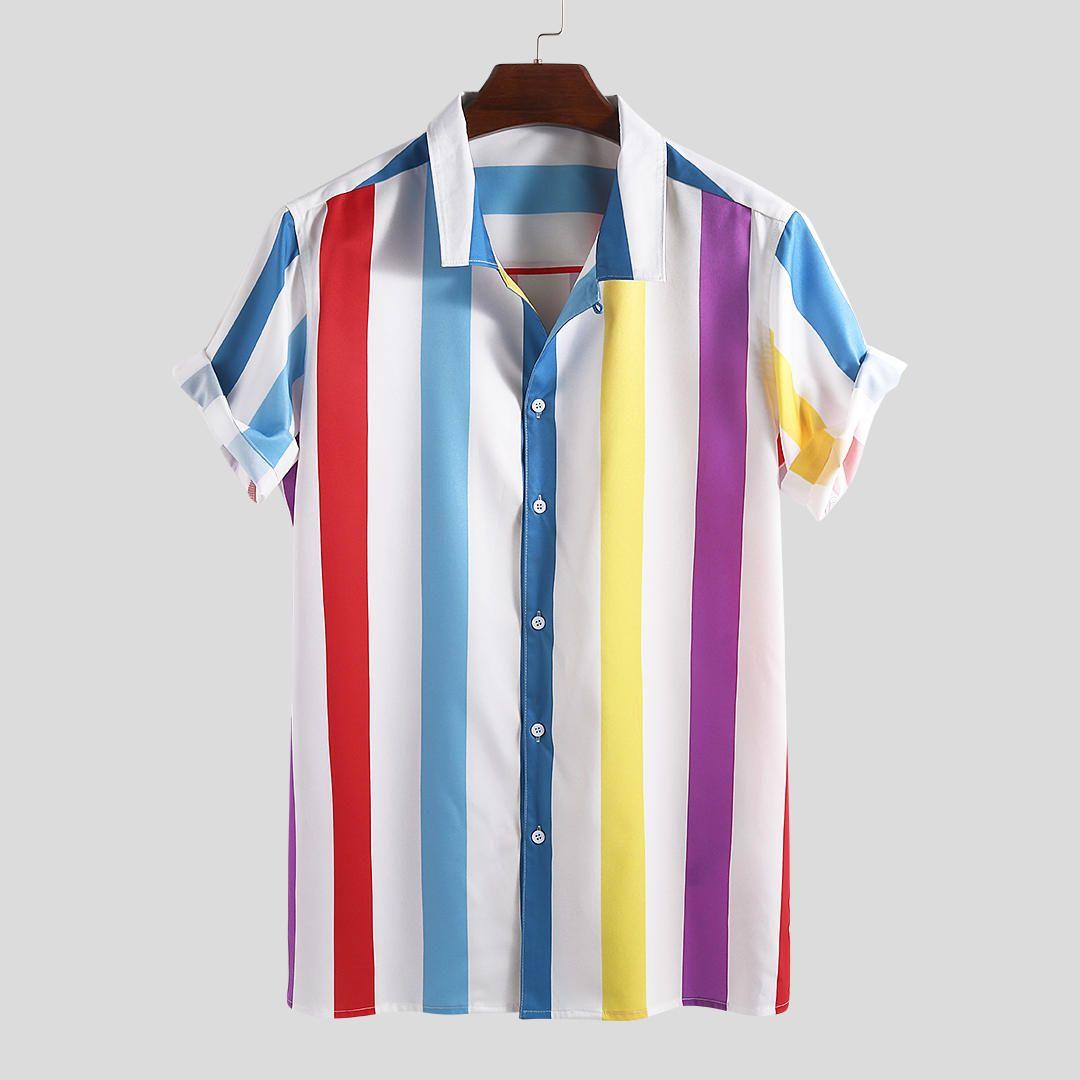 Summer Men Shirt Striped Cotton Button Up Stand Collar Vintage Blouse Loose Short Sleeve Casual Shirts Men Camisa Harajuku