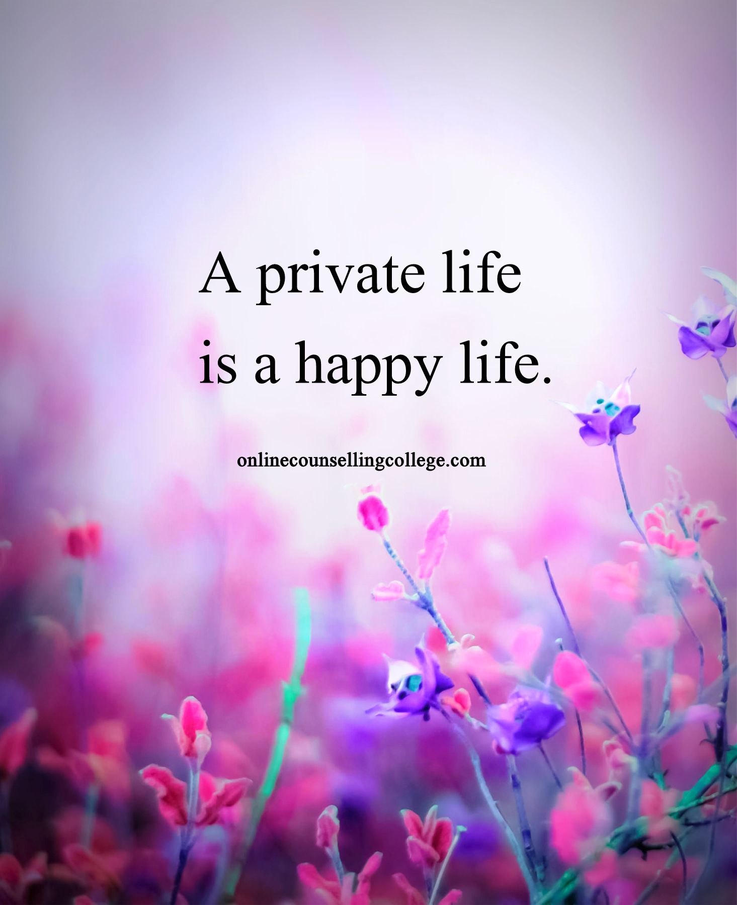 "Happy Life Inspirational Quotes A Private Life Is A Happy Life."" Self Improvement And Counseling"