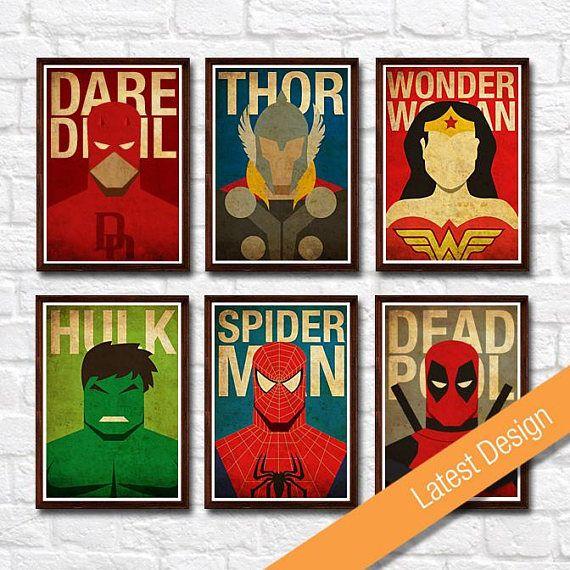 Hulk Iron Man Thor Marvel Comics Retro Fridge Magnet Set