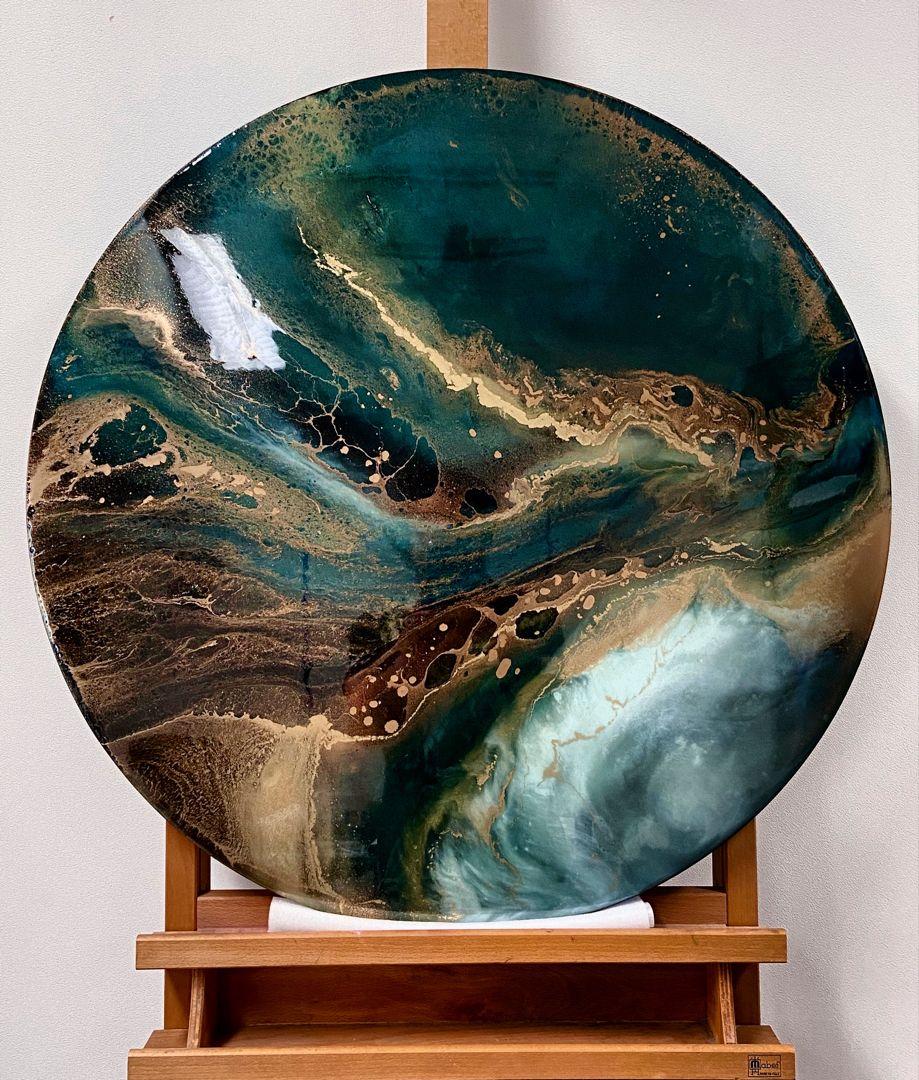 Petrol En Goud Acrylkunst Schilderij Marmeren Achtergrond