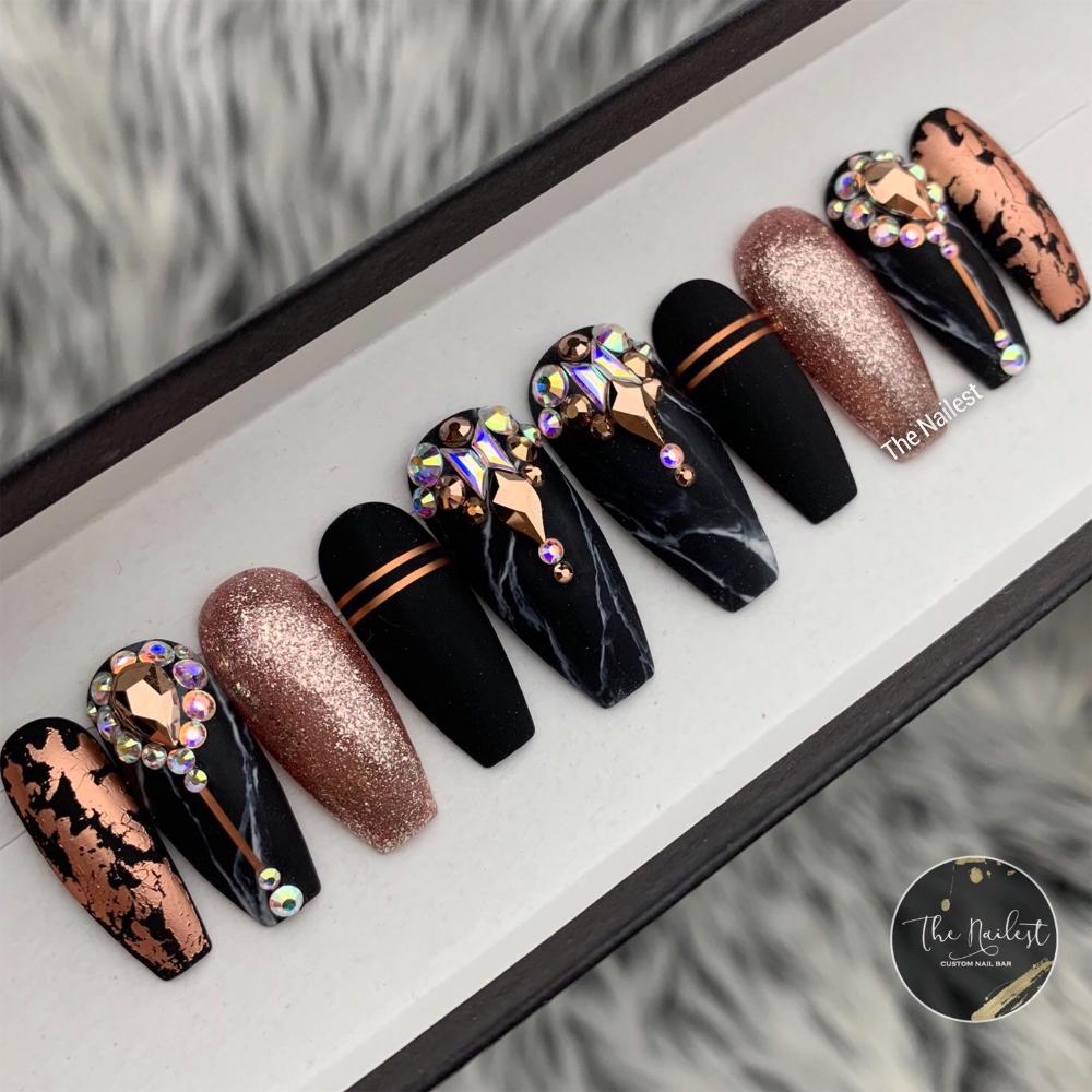 Black Swan Marble and Rose Gold Swarovski Crystal Nail  Press   Etsy