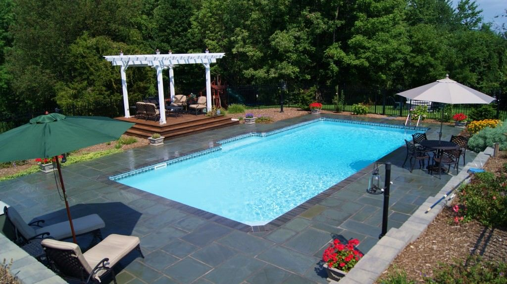 inground pool patio designs small inground pools for small yards inground pools with white permanent fence - Inground Pool Patio Designs