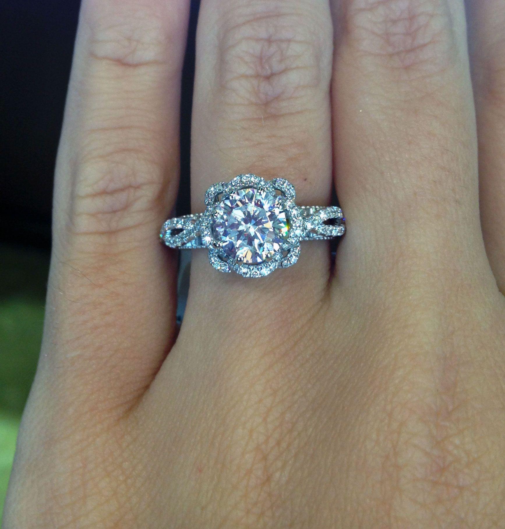 14K White Gold Blue Sapphire Diamond Cluster Ring