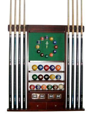 Pool Table Billiard Stick Wall Rack 6 Cue Ball Wall Rack Wood Black Finish Decor