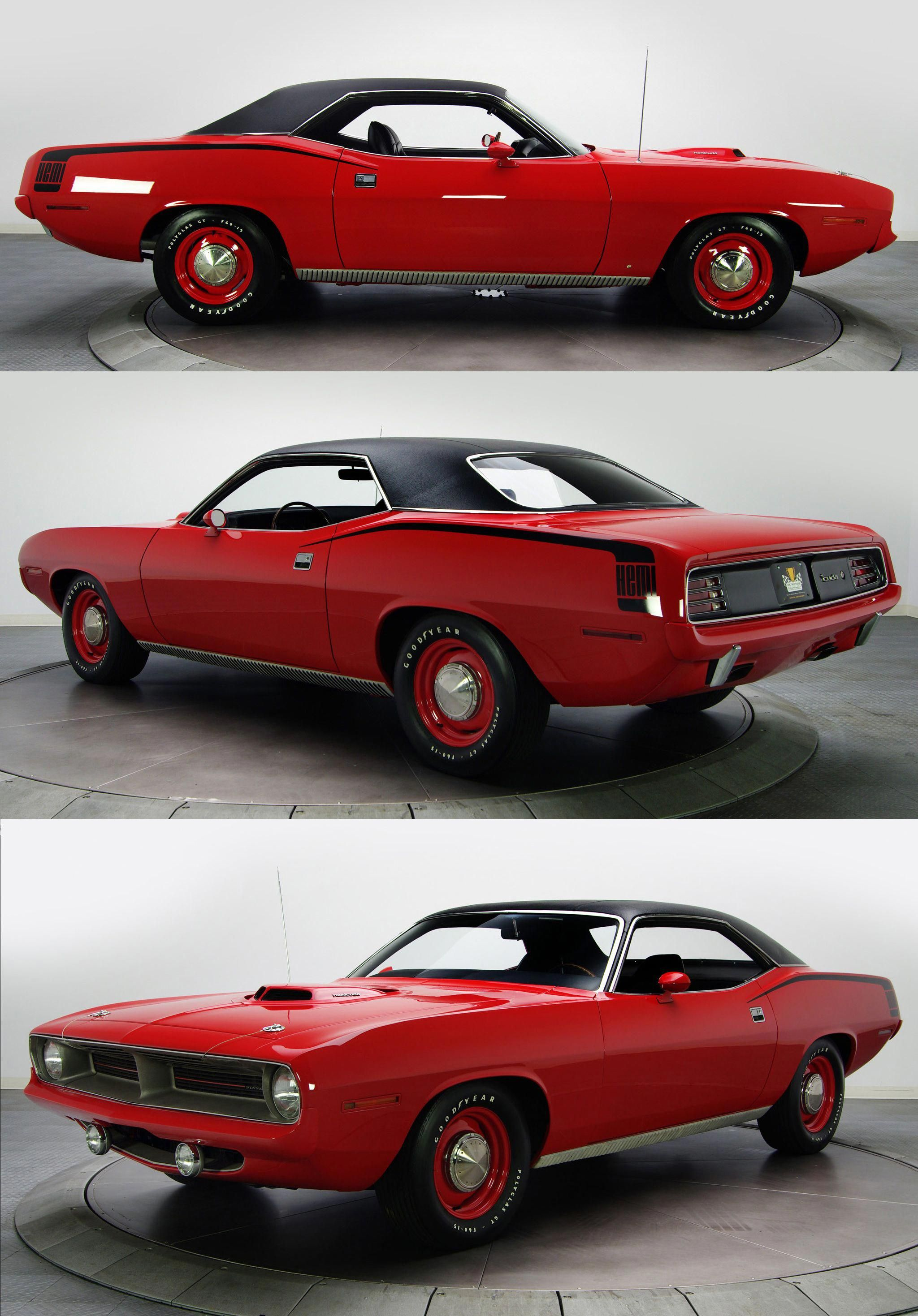 1970 Plymouth Hemi Cuda In Rallye Red Bone Stock I Love The Shaker Hood Hockey Stick Stripe Elastomeric Classic Cars Muscle Cars Mopar Muscle Cars