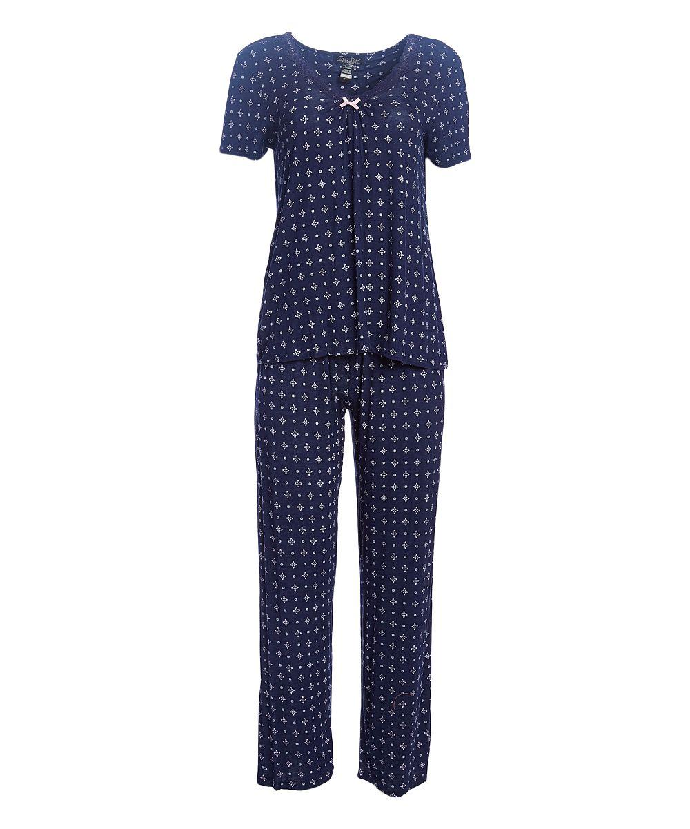 Blue Geo Lace-Trim Moonlight Kiss Pajama Set