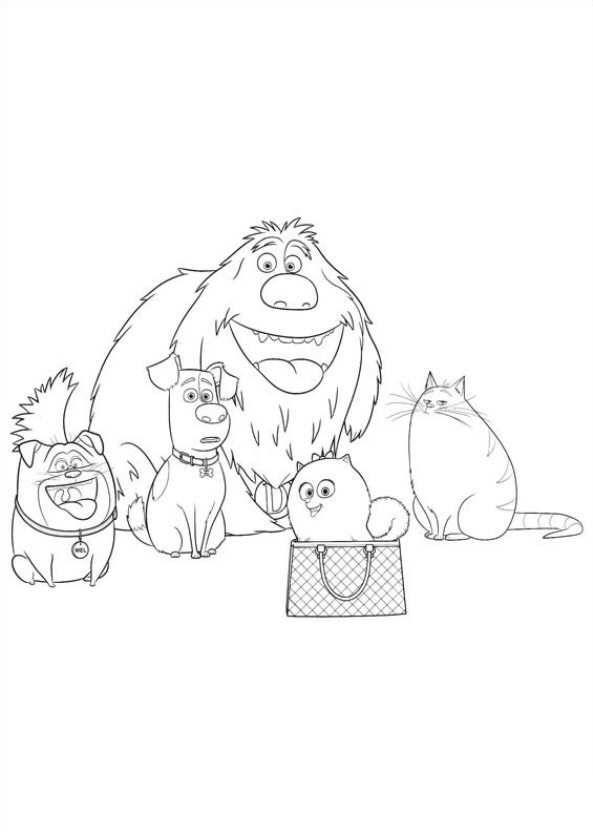 Kleurplaat Huisdiergeheimen (Secret life of Pets