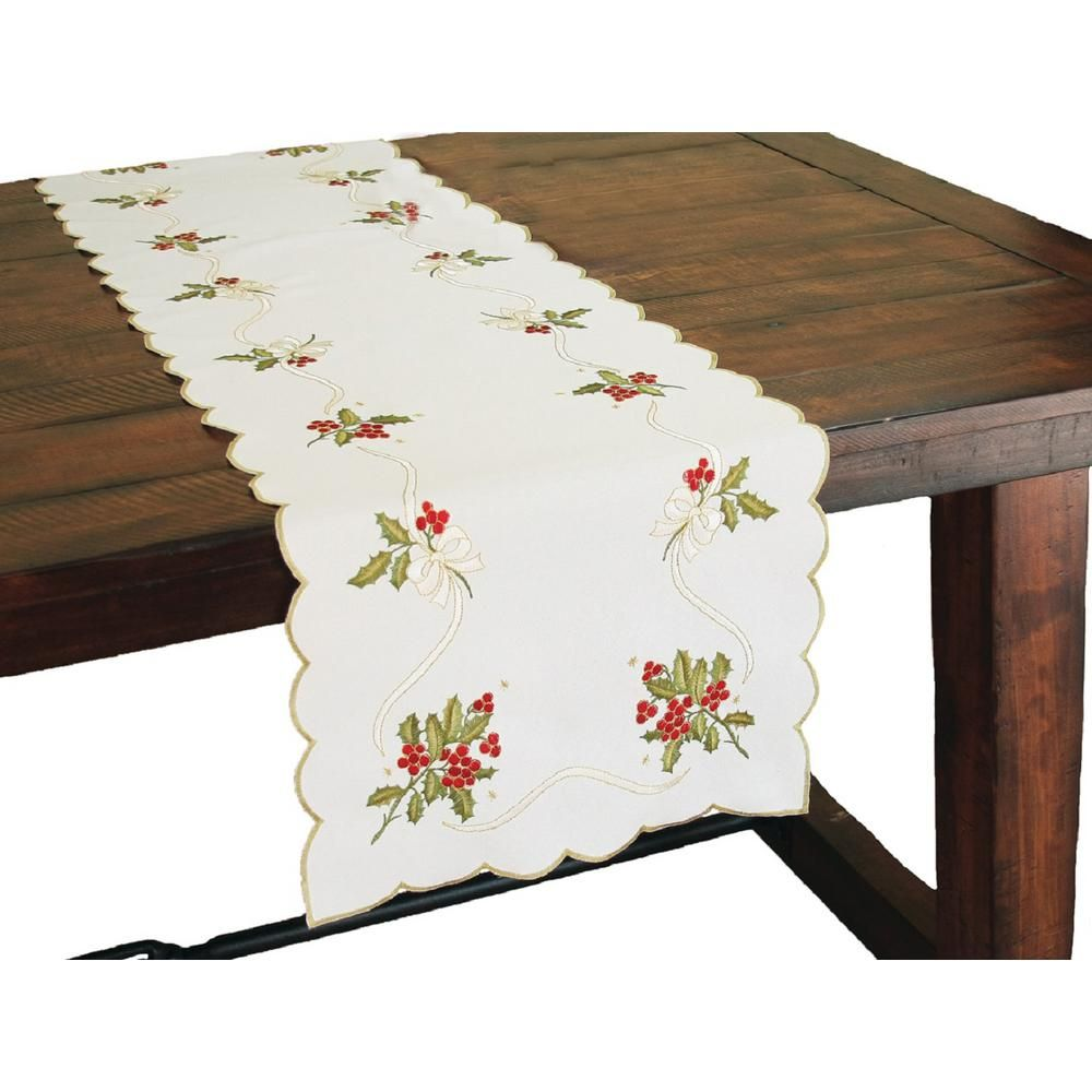 Xia Home Fashions 16 In X 34 In Holly Berry Embroidered Collection Table Runner Multi House Styles Table Runner Size Traditional Tablecloths