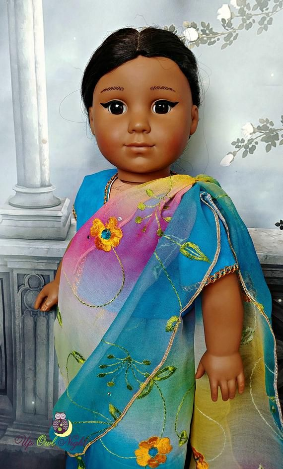 b1986fcce7f Doll Sari Indian Outfit or Bollywood Costume in Blue -- Made from ...