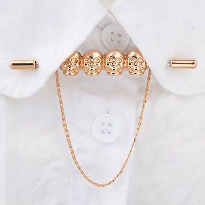 Skull Head Chain Shirt Collar Pin Tie Bar Brooch Lapel Pin ...