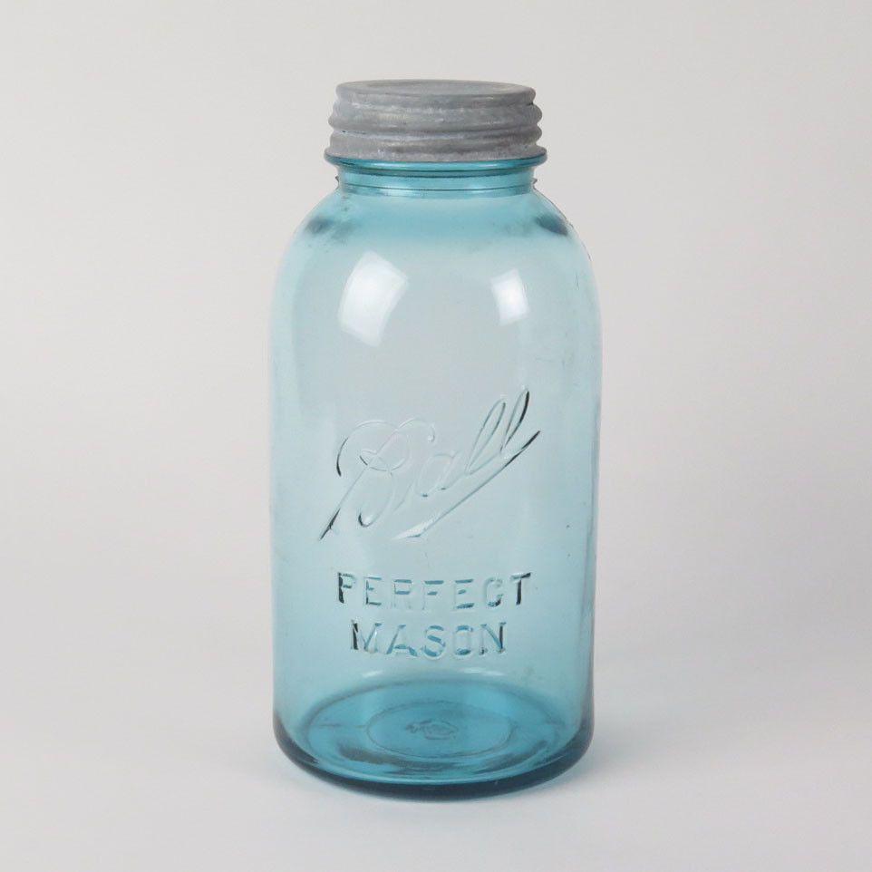 Details about 1910-1923 BALL Mason Jar Drop A Green Blue