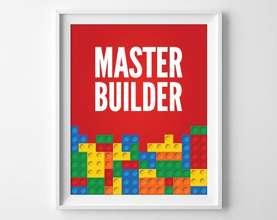 Master Builder Lego Print, Boys Lego Wall Art, Lego Printables, Minimal Lego  Art