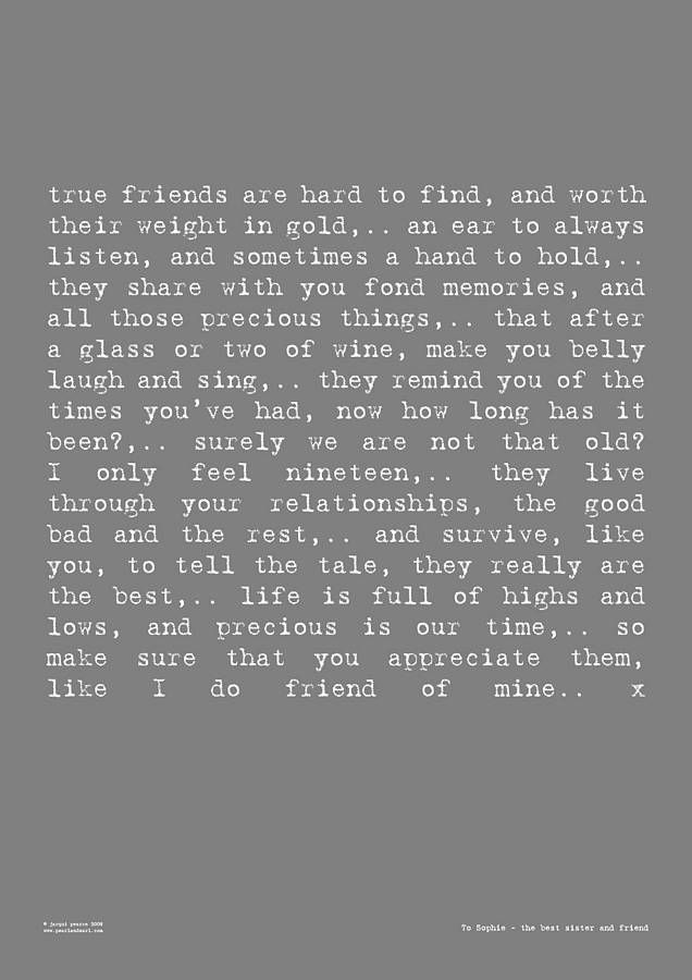 Friendship' Poem Art Print   sayings   Friendship poems