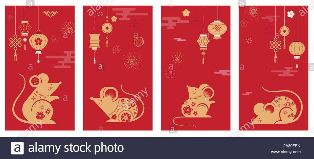 Happy Chinese New Year Design 2020 Rat Zodiac Cute Mouse Cartoon Japanese Korean Vietnamese Luna Chinese New Year Design Happy Chinese New Year Cute Mouse