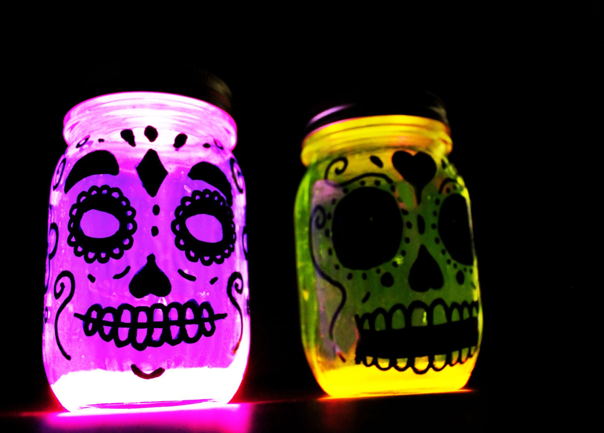 Glow In The Dark Day Of The Dead Or Dia De Los Muertos
