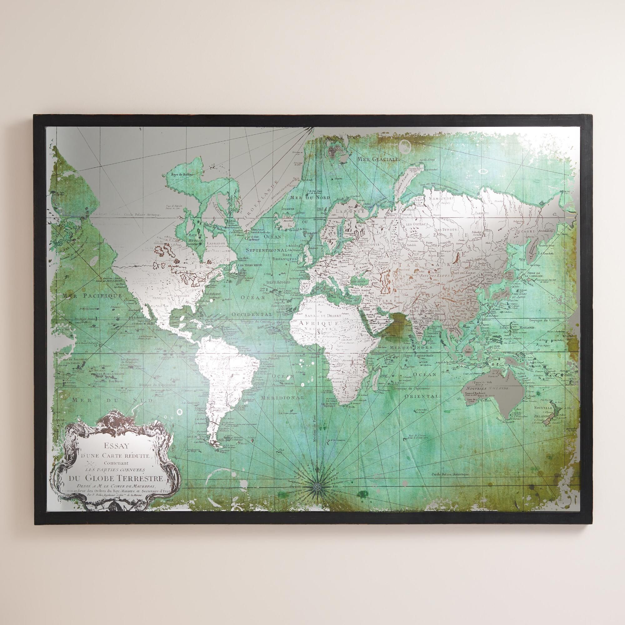 Art Wall Decor Our Antique Green World Map Is Printed On Mirrored Gl For Added Visual Intrigue A Simple Black Frame Completes The Look