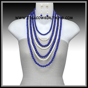 Game Day Blue & White Beaded Necklace Set