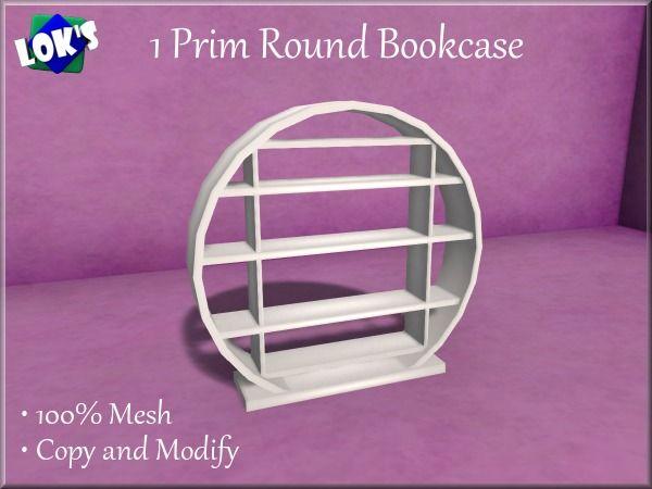 *Lok's* 1 Prim Mesh Bookcase (Round Bookshelf) White 29L