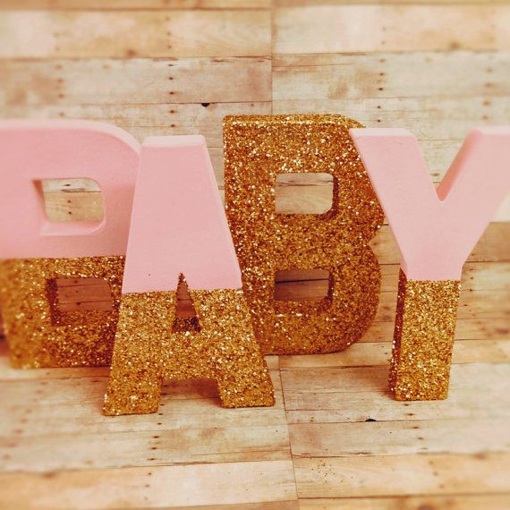 Glitter Xl Letters 16 Pink And Gold Self Standing Large By Ajobebe Girl Baby Shower Centerpieces Baby Boy Shower Favors Girl Baby Shower Decorations
