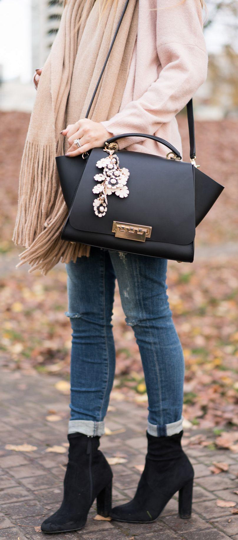 6e320d9c10b Fall Outfit  Blush Sweater - Legging Ankle Jeans - Scarf - Booties - Zac  Zac Posen Handbag - Spring Earthette Floral Charm. Angela Lanter - Hello  Gorgeous.
