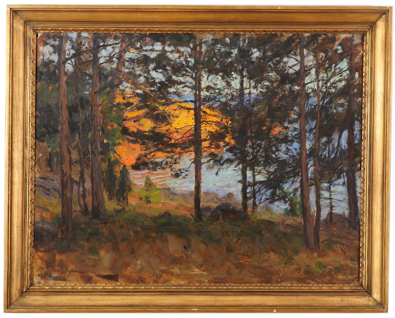 Gottfrid Kallstenius (1861-1943): solnedgång i skärgård