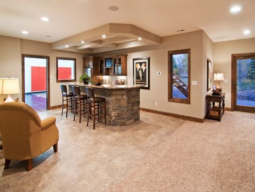 Bar Area Featuring Stone Bar Base & Coffered Ceiling - Creek Hill ...