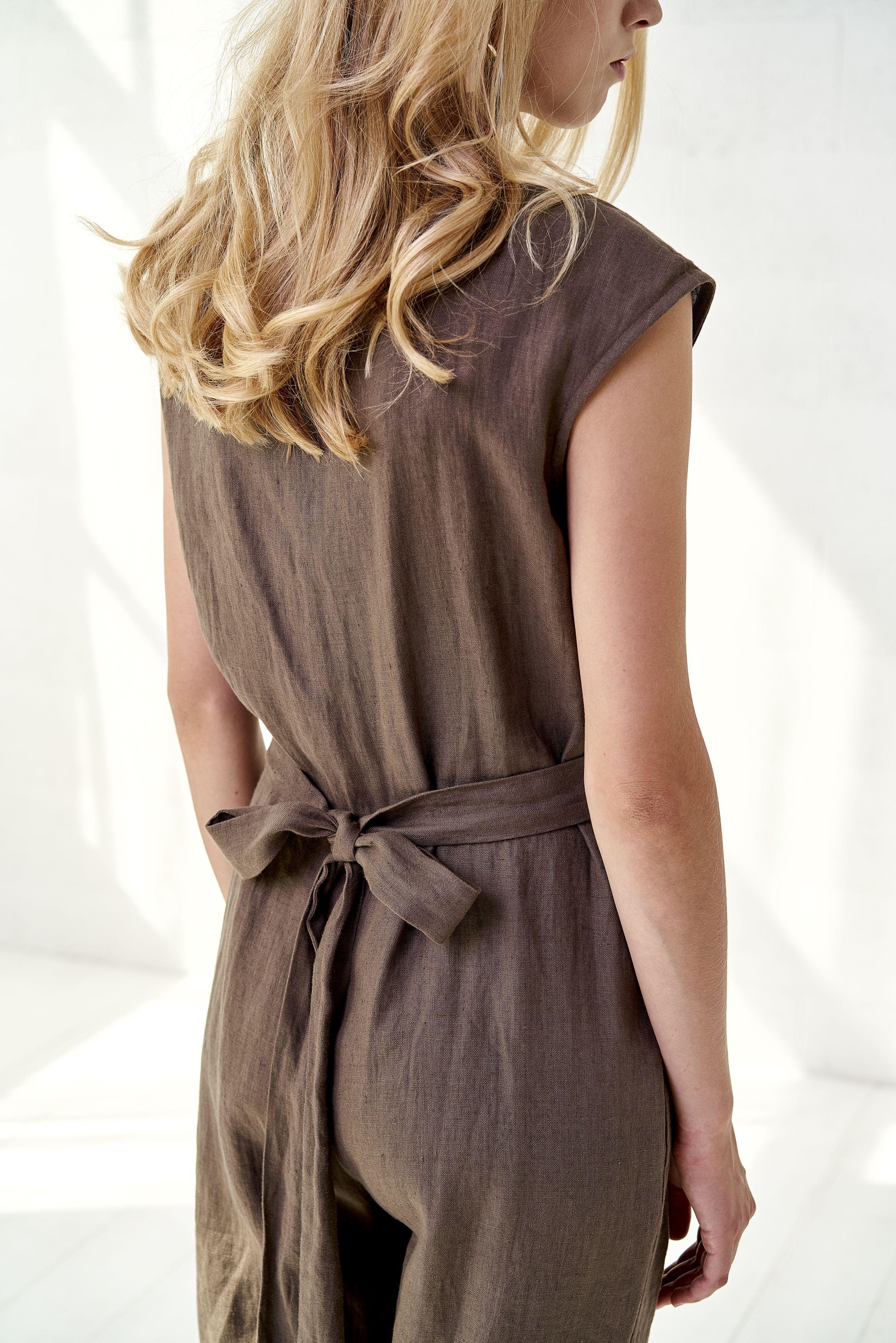 9db3bdbdbd Linen  jumpsuit Brown  linen overall Wide leg jumpsuit Short sleeve linen  romper  madeinlithuania  linenjumpsuit  blisslinen  natural  handmade   linenwoman ...