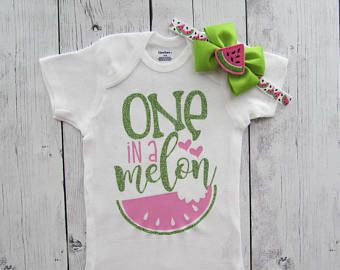 1e3d7fc95 One in a Melon First Birthday Onesie - girl first birthday, watermelon  birthday, watermelon pink lime, watermelon bow, one year old