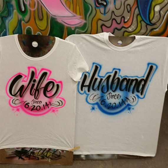 3d540f44f Husband / Wife Airbrush T shirt Personalized with your name or ...