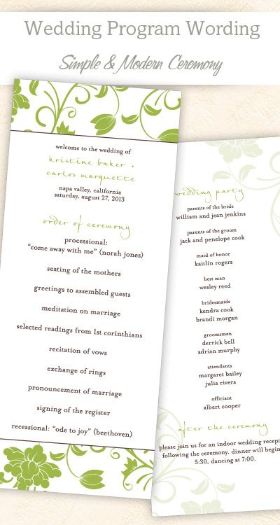 Wedding Program Wording  Templates  Wedding Programs Programming