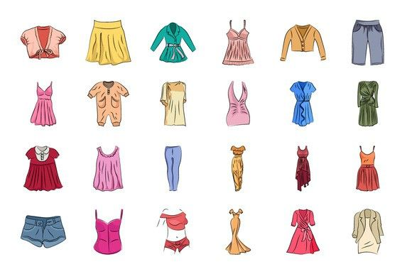 Clothes Hand Drawn Vector Icons. Clothes Icons. $7.00