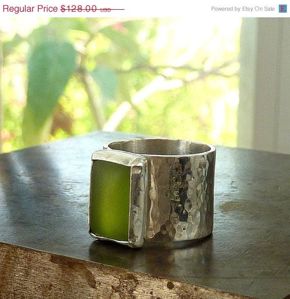 SPRING SALE Green Zircon ring wide band ring Gemstone by anakim