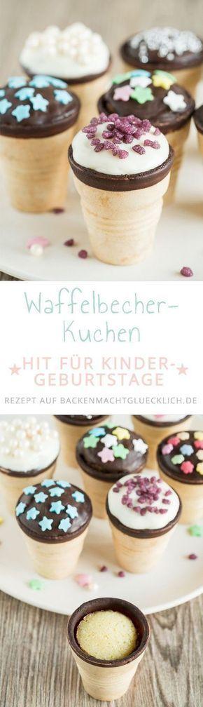 Kleine Kuchen in der Waffel | Backen macht glücklich #childrenpartyfoods