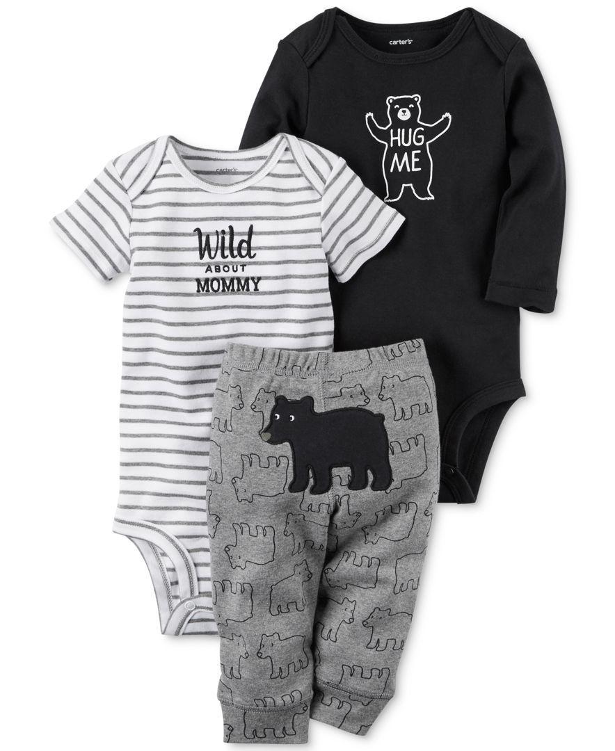 7e1024835 Carter's 3-Pc. Cotton Hug Me Bear Bodysuits & Pants Set, Baby Boys (0-24  months)