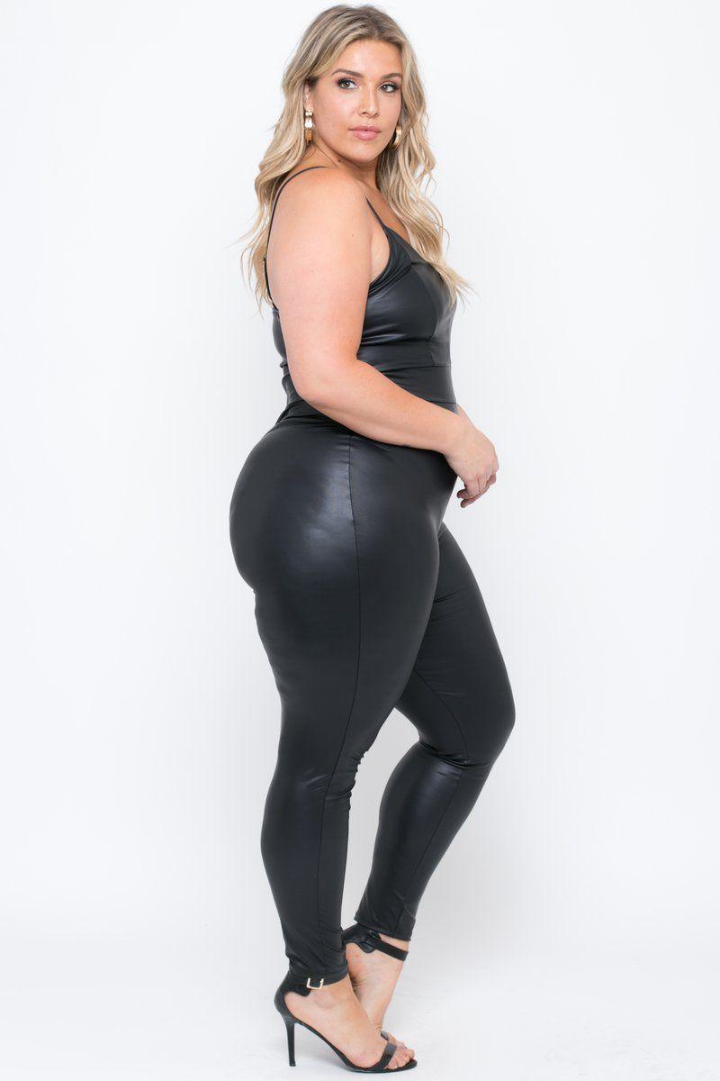 a20d1c17cc0d7 Plus Size Faux Leather Catsuit - Black