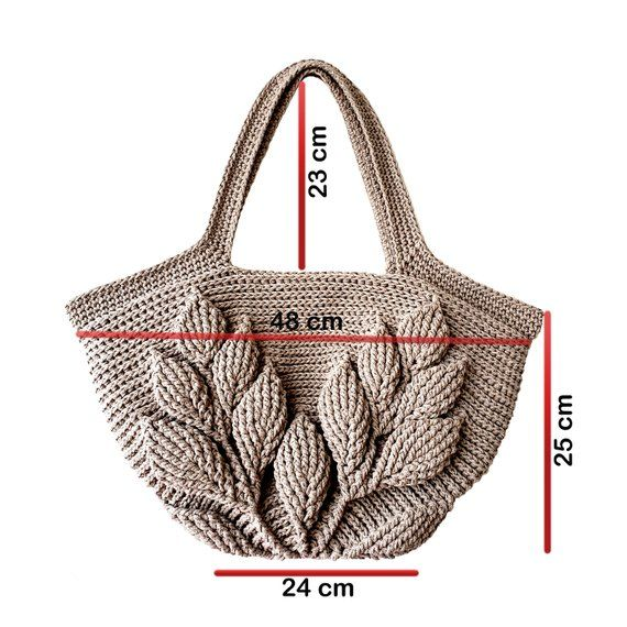 Minimalist Style Crochet Bag,Embossed Leaves Crocheted Tote,Natural Cotton Large Bag,Strong and Flexible Crochet Handbag,Shopper-Market Bag #crochethandbags