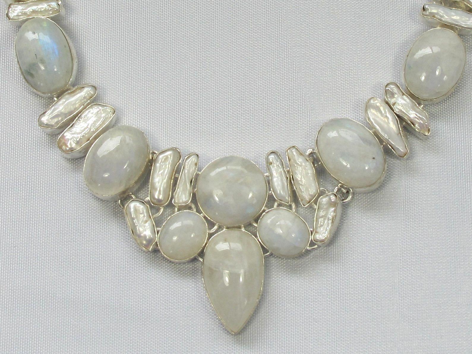 925 Sterling Silver Created SAPPHIRE 1.75 RAINBOW MOONSTONE Pendant