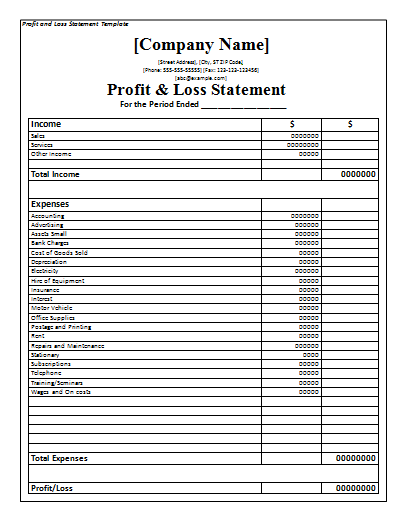 a profit and loss statement template is a financial statement of a company that will give