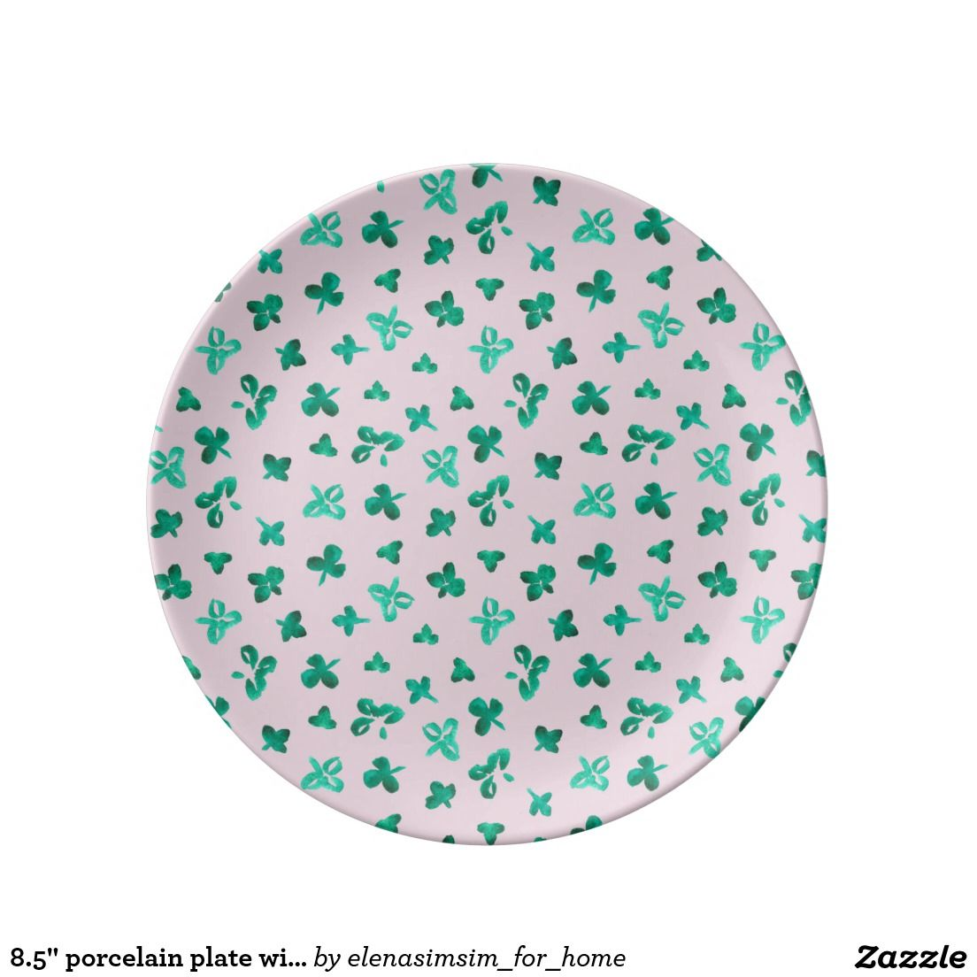 8.5'' porcelain plate with clover leaves on pink