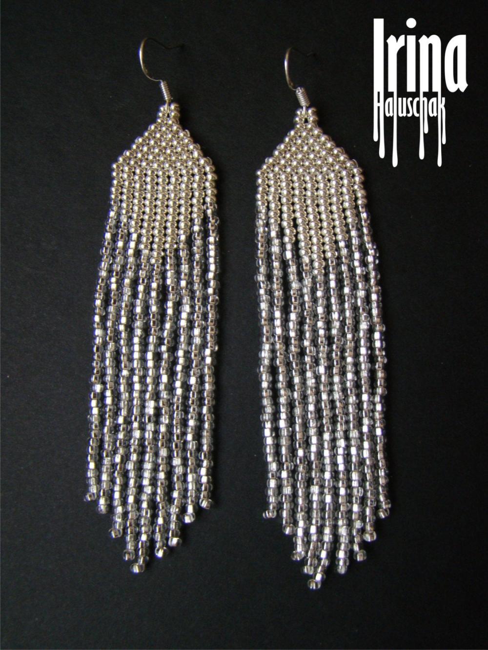 Crystal silver,fringe,tassel earrings,boho earrings,dangle earrings,translucent earrings,beaded earrings,seed beaded earrings,gift for her