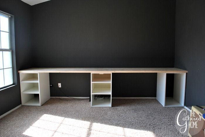 How To Make A Diy Plank Top Ikea Cabinet Desk Ikea Hack