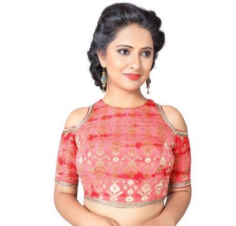 e7c96d2daccb8 High neck cut shoulder back open padded ready made designer saree blouse