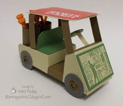 A tutorial for a golf cart (for him) gift card holder - amazingly creative!
