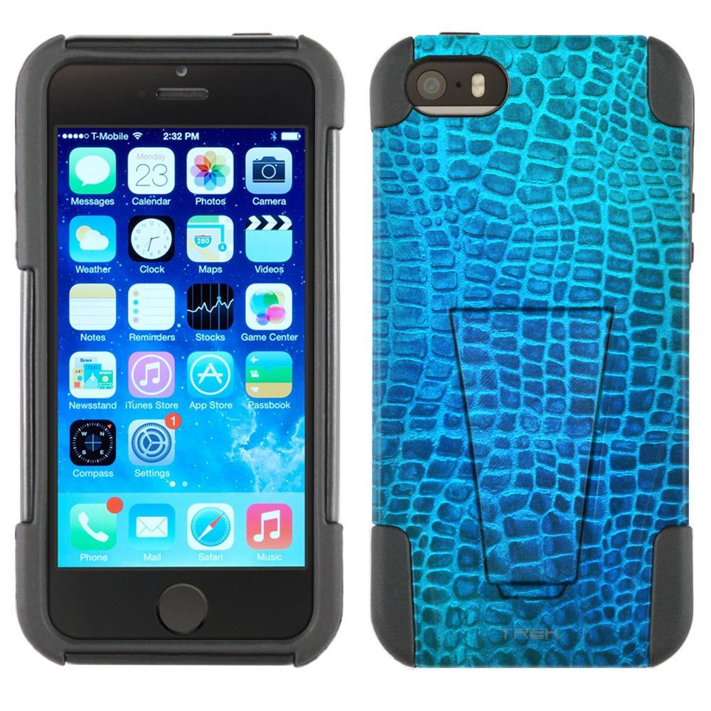 Apple iPhone 5 Hybrid Stand Case - Alligator Teal Blue and Green Skin
