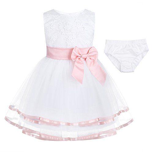 189073756 YiZYiF Vestido Blanco de Bautizo Fiesta Boda Ceremonia para Niñas Bebés 2PC  Vestidos Infantil de Princesa Elegante Rosa 0-3 Meses