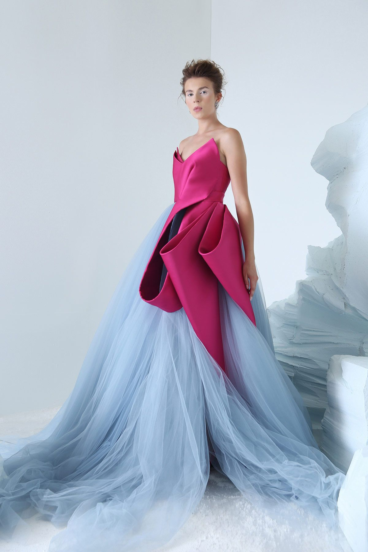 Tchaikovsky bicolor strapless ball gown with sculptural magenta