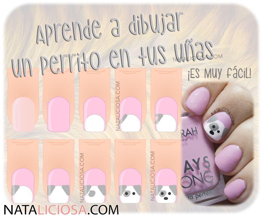 Manicura De Perrito Paso A Paso Nataliciosa Com Nail Art Diy Nail Art Tutorial Cool Nail Designs