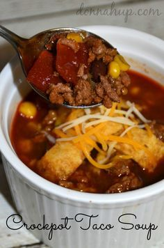 This Crockpot Taco Soup is one of my favorite recipes! It's delicious and so easy to make. Includes recipe and pictures. Enjoy!