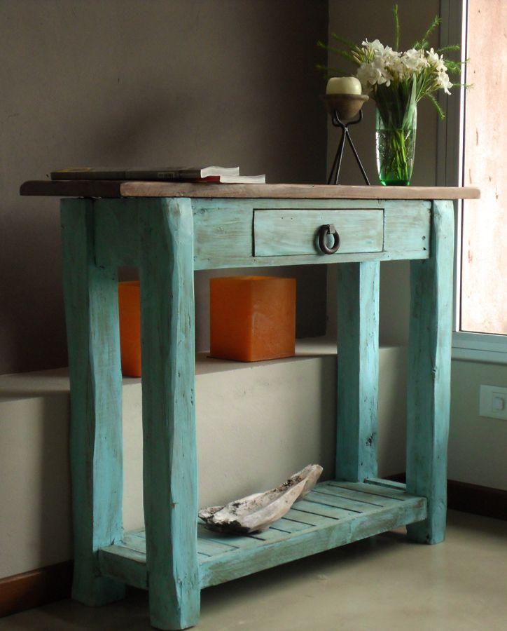Mueble de arrime realizado con madera recuperada y tapa - Muebles envejecidos ...